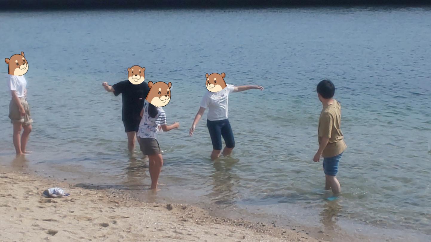 海の水はヒンヤリ。少し寒いくらい。